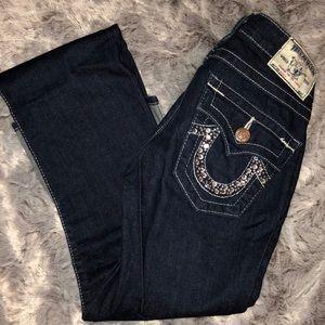 TRUE RELIGION Jeans, Dark wash, Rhinestone stud